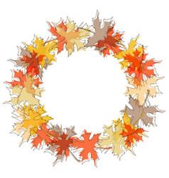 round maple leaf autumn frame seasonal fall vector image