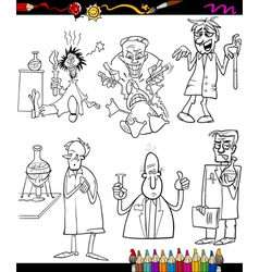 scientists set cartoon coloring book vector image