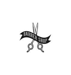 scissor and ribbon vintage hand drawn logo vector image