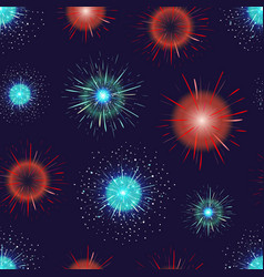 Seamless pattern with festive fireworks displayed vector