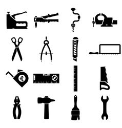 set icons tools vector image