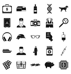 Shadowing icons set simple style vector