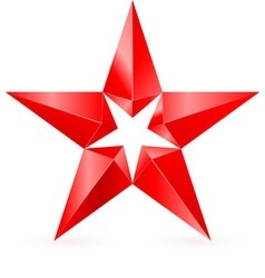 Shiny RED star 02 vector image