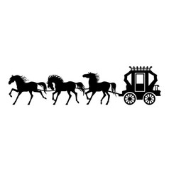Silhouette carriage and three horses vector