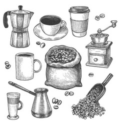 Sketch coffee coffee mill kettle sack vector
