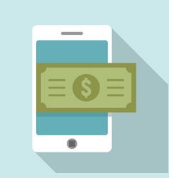 smartphone money cash icon flat style vector image