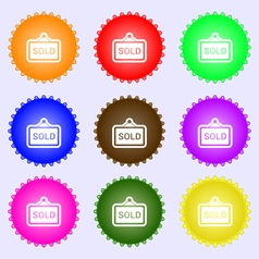 Sold icon sign A set of nine different colored vector