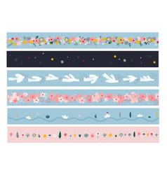 spring summer boarder tape ribbon set vector image