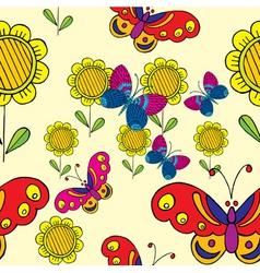 Sunflower butterflies vector