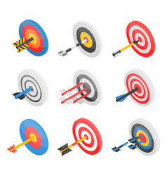 target icon set isometric style vector image