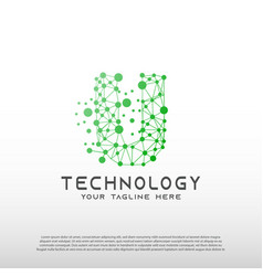 Technology logo with initial u letter network vector