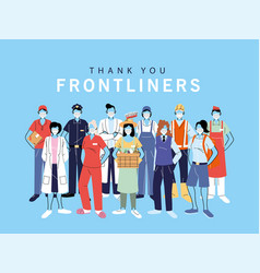 Thank you essential workers various occupations vector