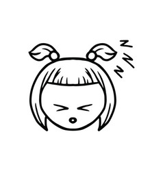 thin line sleppy face icon vector image
