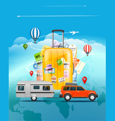 Travel concept bag and different touristic vector
