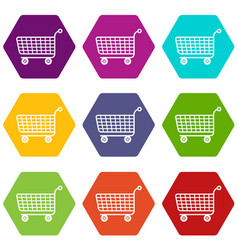 Trolley icons set 9 vector