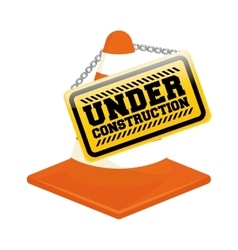 Under construction cone design vector