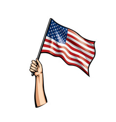 usa flag and hand on white background vector image