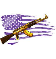 usa flag with an ak 47 rifle vector image