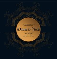 Wedding card design in golden mandala pattern vector