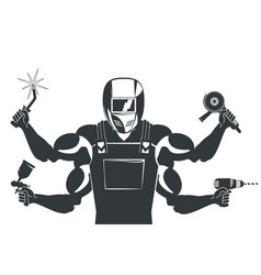 welder with a tool for welding vector image