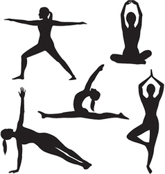 Yoga woman silhouette collection vector