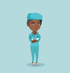 Young african-american surgeon with arms crossed vector