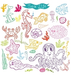Cartoon Funny Fish Sea Life Doodle linear se vector image vector image