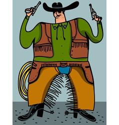cowboy with guns vector image vector image