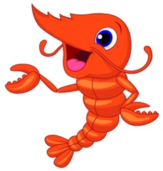 Cute shrimp cartoon presenting vector image vector image