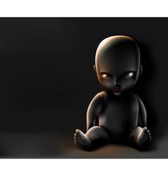 Doll on dark background vector
