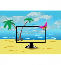 monitor is on the beach vector image vector image