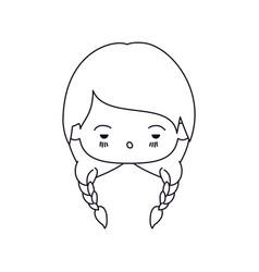 Monochrome silhouette of facial expression sad vector