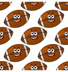 Seamless pattern of cartoon American footballs vector image vector image