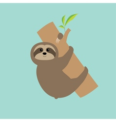 Sloth hugs tree branch Cute cartoon character Wild vector image vector image