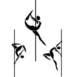 Stylized pole dancers vector image