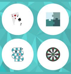 flat icon entertainment set of arrow ace jigsaw vector image