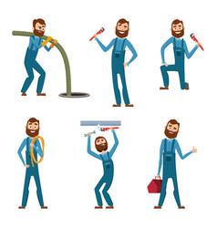 funny character of repairman or plumber in vector image