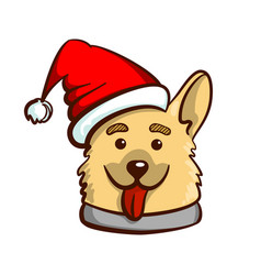 funny dog in santas hat vector image