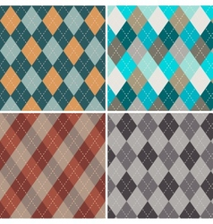 Set of seamless argyle patterns vector image