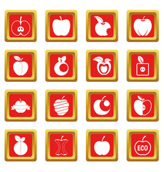 apple icons set red vector image