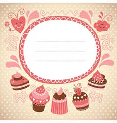 frame with cute cupcakes vector image