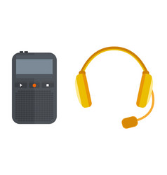 headphones icon isolated microphone vector image