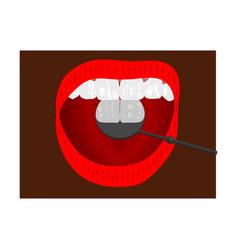 healthy tooth looks in dental mirror happy cute vector image vector image