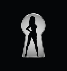 keyhole and a look at the girl through it one vector image