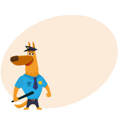 police dog character in uniform having cap badge vector image