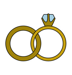 white background with colorful wedding rings vector image