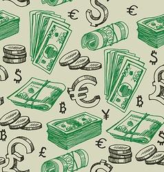 Money falling seamless pattern vector image