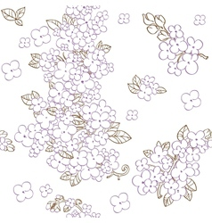 Seamless pattern of purple flowers lilac vector image