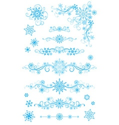 Snowflake page dividers and decorations isolated vector image vector image