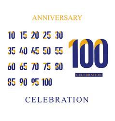 100 th anniversary celebration set orange blue vector